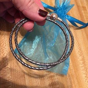 Authentic~PANDORA~Leather Double Wrap Bracelet